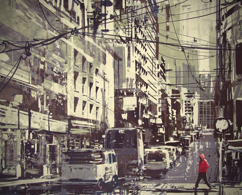 Mann in einer roten Haube, welche die Straße kreuzt vektor abbildung