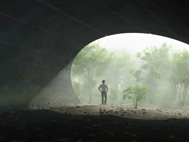 Mann am Ende des Tunnels stock abbildung