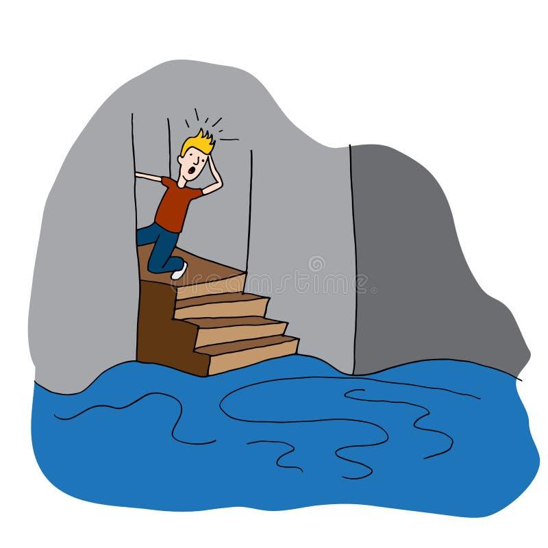Mann entsetztes Anstarren entlang seines Flut-Kellers stockfotos