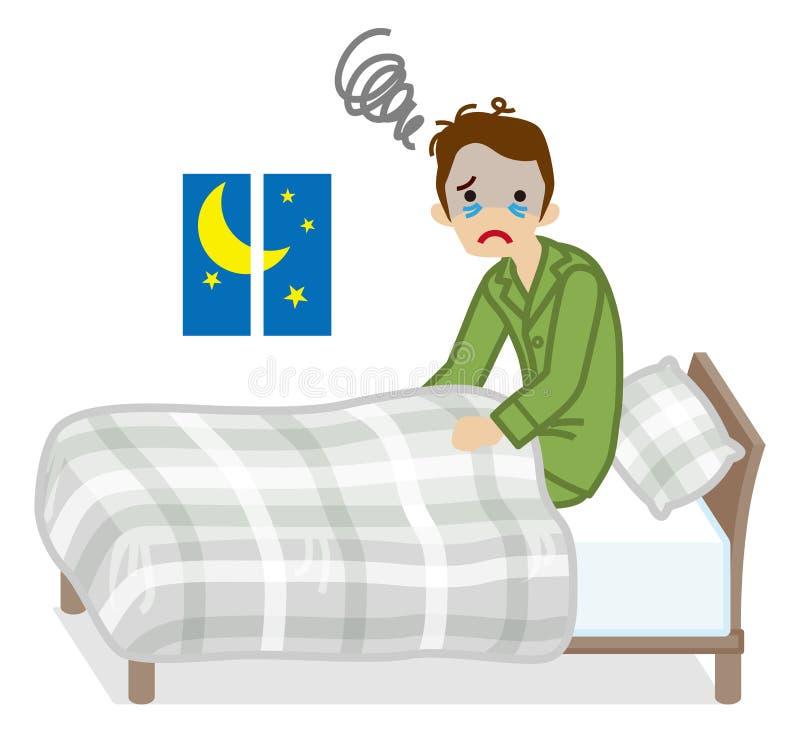 Mann erleidet graues Bettzeug Farbe der Schlaflosigkeit vektor abbildung