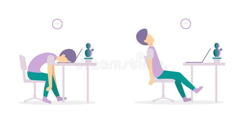 Mann ermüdete auf dem Tisch mit Versionen des Laptops 2 lizenzfreie abbildung