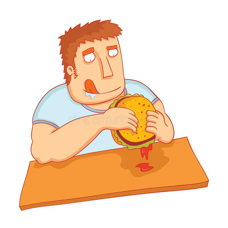 Mann essen großen geschmackvollen Burger vektor abbildung