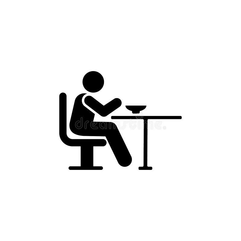 Mann, essend, Nahrung, menschliche Ikone Element der täglichen Routineikone lizenzfreie abbildung