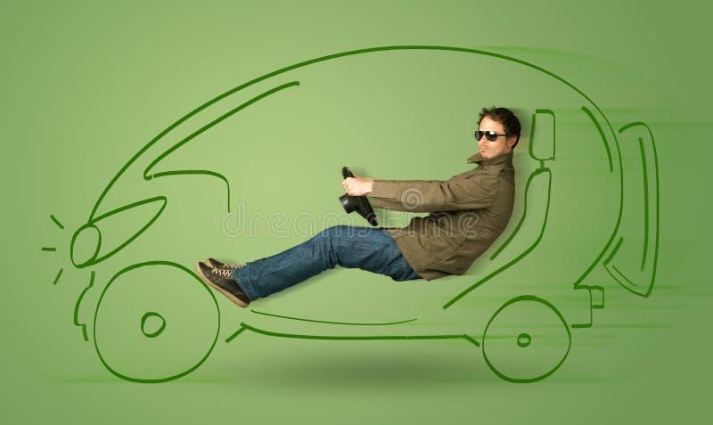 Mann fährt ein eco friendy elektrische Hand gezeichnetes Auto lizenzfreies stockbild