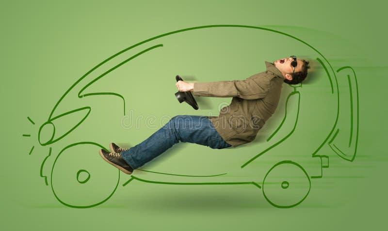 Mann fährt ein eco friendy elektrische Hand gezeichnetes Auto lizenzfreie stockfotos