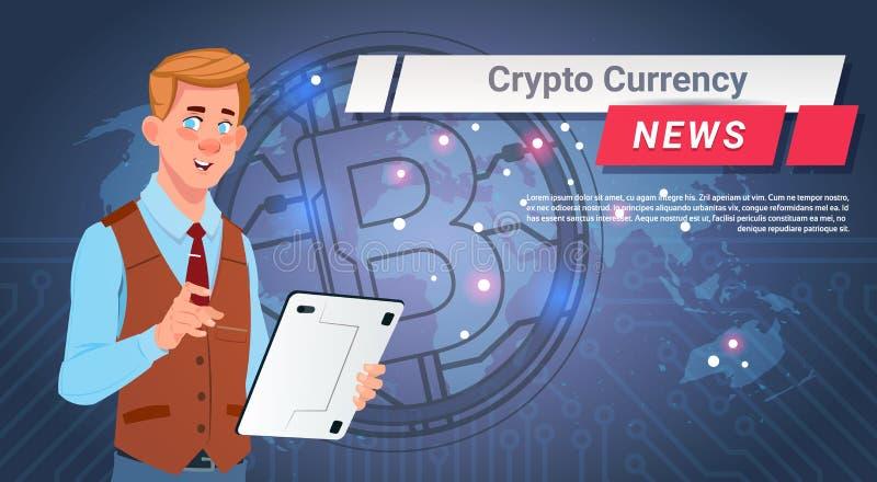 Mann-führender Schlüsselwährungs-Nachrichtenreport goldenes Bitcoin über Weltkarte-Digital-Netz-Geld-Konzept vektor abbildung