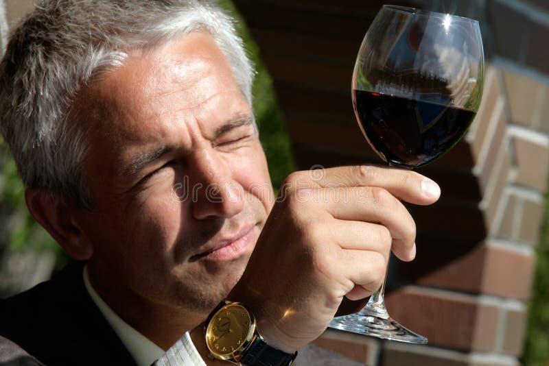 Mann, Farbe im Wein beobachtend stockfotos