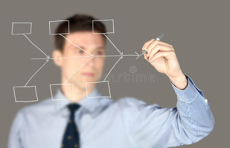 Mann Fishbonediagramm lizenzfreies stockbild