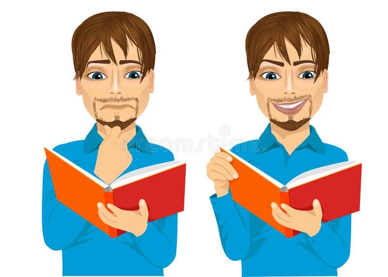 Mann fokussiert, interessantes Buch lesend stock abbildung