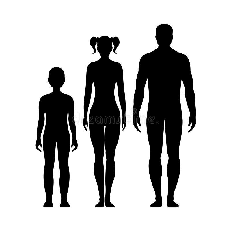Mann, Frau, Junge und Mädchen Menschliches Vorderseite Schattenbild Getrennt vektor abbildung