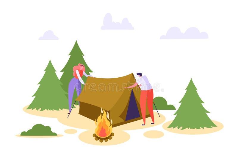 Mann-Frau stellte Zelt Forest Vacation auf Leute-Charakter-Lager in der Natur Forest Family Summer Picnic Campfire der wild leben lizenzfreie abbildung