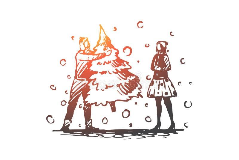 Mann, Frau, Weihnachten, Baum, Feiertagskonzept Hand gezeichneter lokalisierter Vektor stock abbildung
