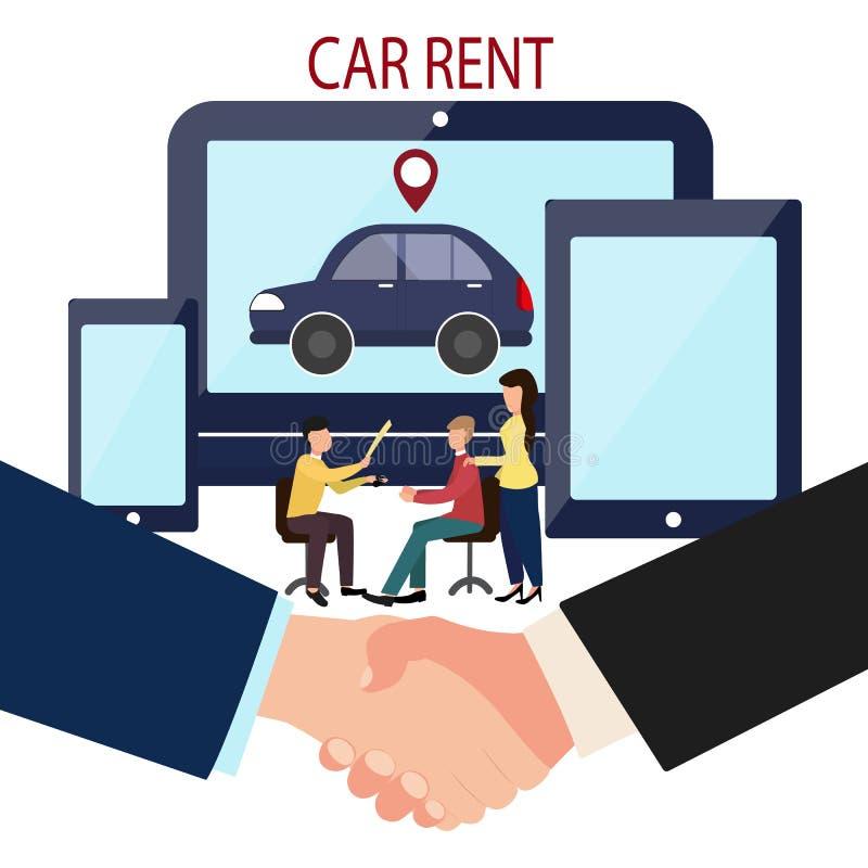Mann-, Frauen- und Autohändler On-line-Abkommenherstellung Mieten Sie ein Auto Helfende Hand Vektorillustration in der flachen Ar vektor abbildung
