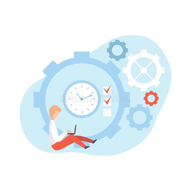 Mann-Funktion mit dem Laptop, der nahe bei Uhr, Geschäftsmann Planning und KontrolleArbeitszeit, Geschäfts-Konzept von sitzt vektor abbildung