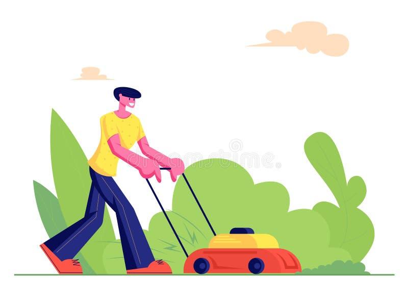 Mann-Gärtner Cutting Green Grass mit Rasenmäher, Landwirt Mowing Garden Backyard, Gartenarbeitarbeit, Service, Haushalt lizenzfreie abbildung