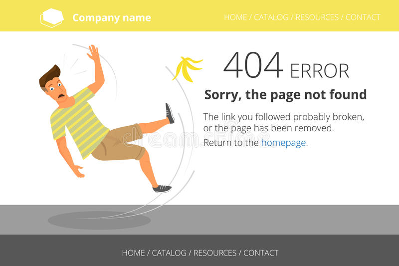 Mann geglitten auf einer Banane Gefundener Fehler 404 der Seite nicht vektor abbildung