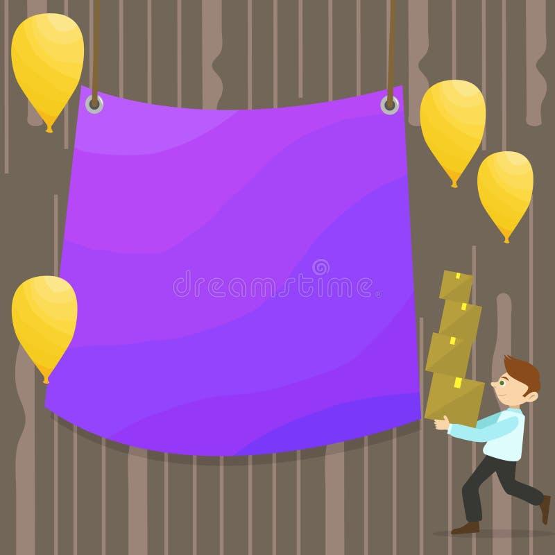 Mann-gehender tragender Stapel von Kästen und von zerstreuten gelben Ballonen Leere Farbplane, die in der Mitte hängt kreativ stock abbildung
