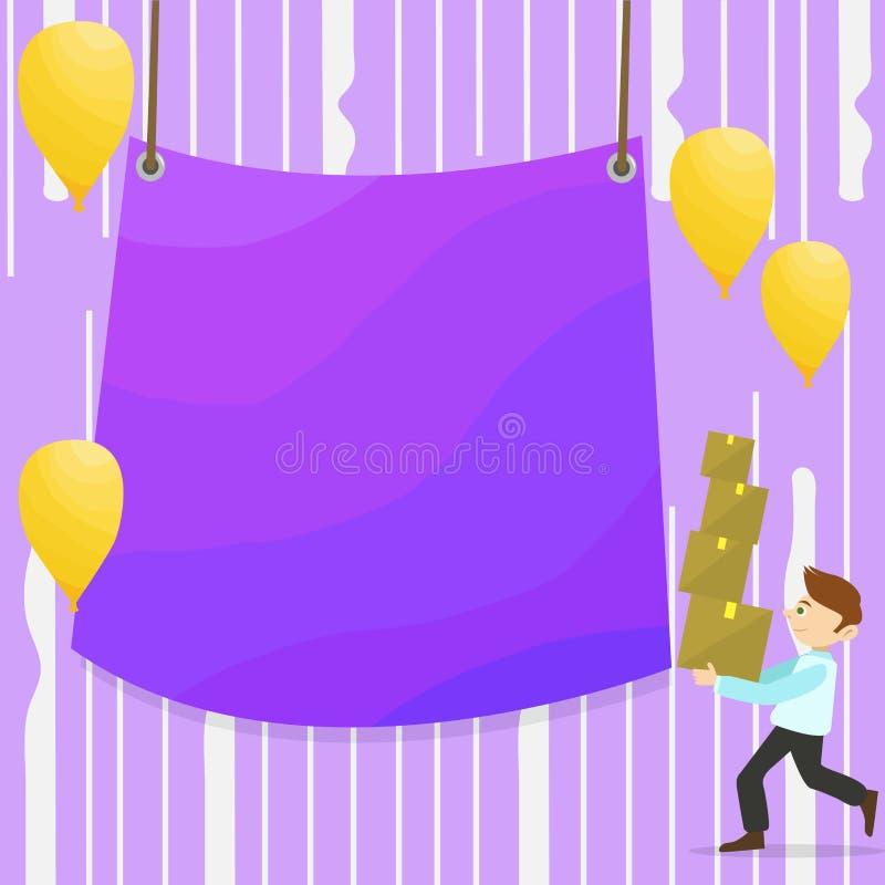 Mann-gehender tragender Stapel von Kästen und von zerstreuten gelben Ballonen Leere Farbplane, die in der Mitte hängt kreativ lizenzfreie abbildung