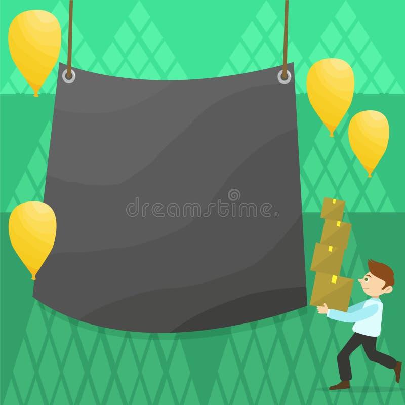Mann-gehender tragender Stapel von Kästen und von zerstreuten gelben Ballonen Leere Farbplane, die in der Mitte hängt kreativ vektor abbildung