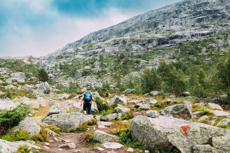 Mann geht auf Bergwandernspur in Norwegen Weg zu den natürlichen Anziehungskräften von ` s Trolltunga oder der Schleppangel Zunge stockfoto