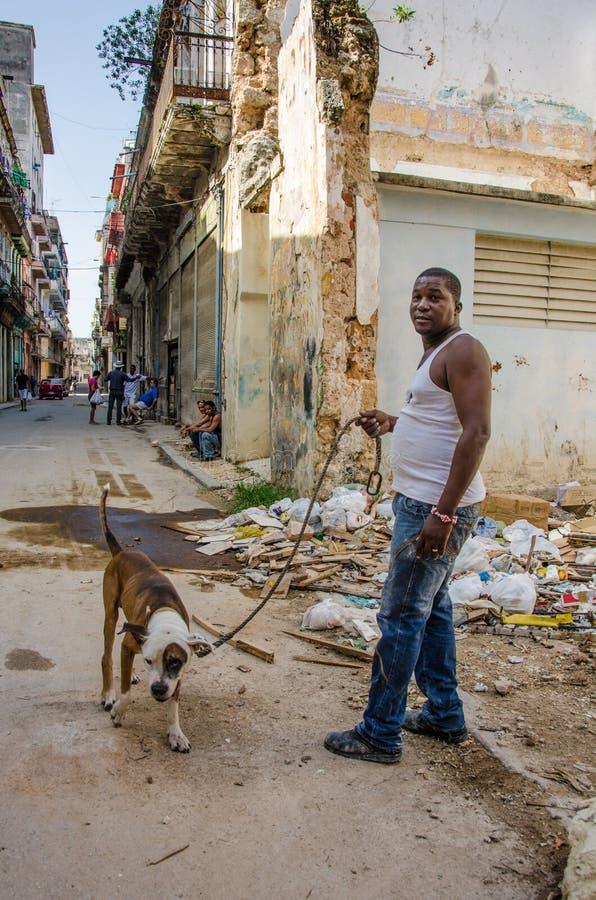 Mann geht sein Hund in altem Havana, Kuba lizenzfreies stockfoto
