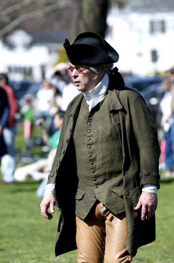 Mann gekleidet als amerikanischer Patriot stockfotos