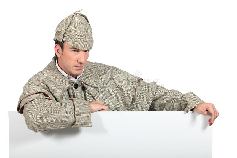 Mann gekleidet als Sherlock Holmes stockbilder