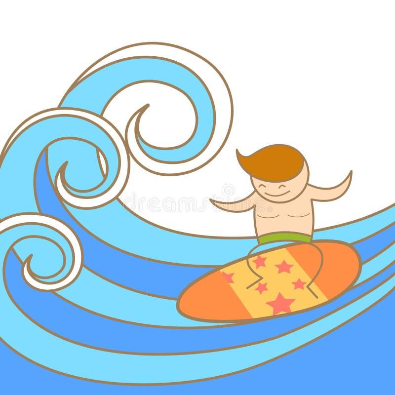 Mann genießen sein Surfen vektor abbildung