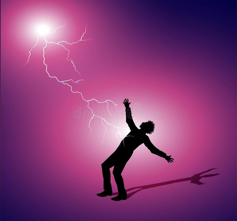 Mann geschlagen durch Blitz lizenzfreie abbildung