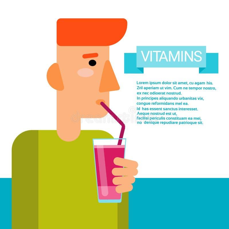 Mann-Getränk-Vitamin-Cocktail-Flaschen-wesentliche chemische Element-Nährstoff-Mineralien lizenzfreie abbildung