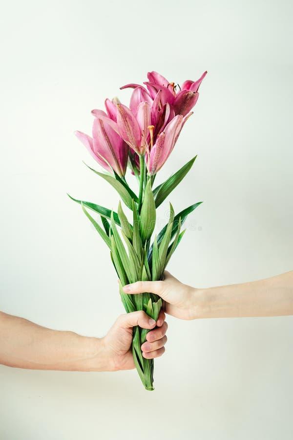 Mann gibt der Frau Blumen Männliche und weibliche Hand, die Blumenstrauß auf weißem Hintergrund hält lizenzfreies stockbild