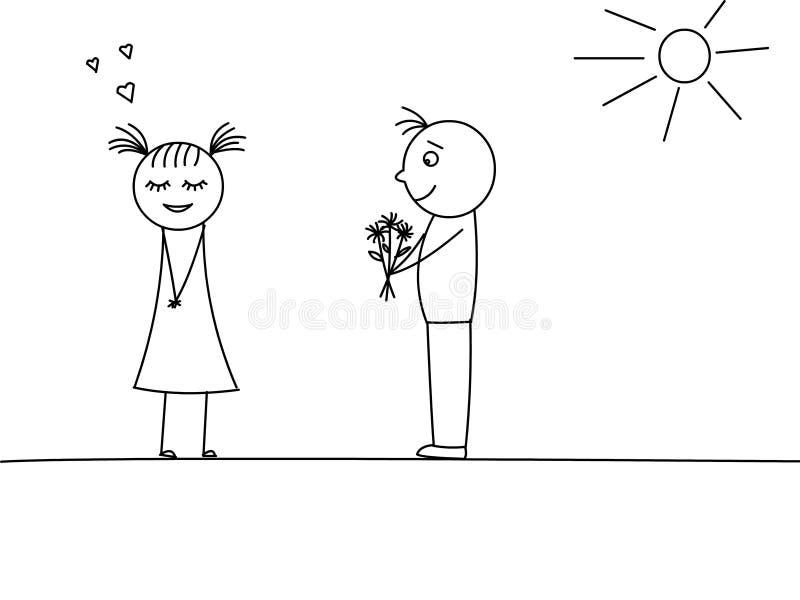 Mann gibt einer Frau Blumen stockfotos