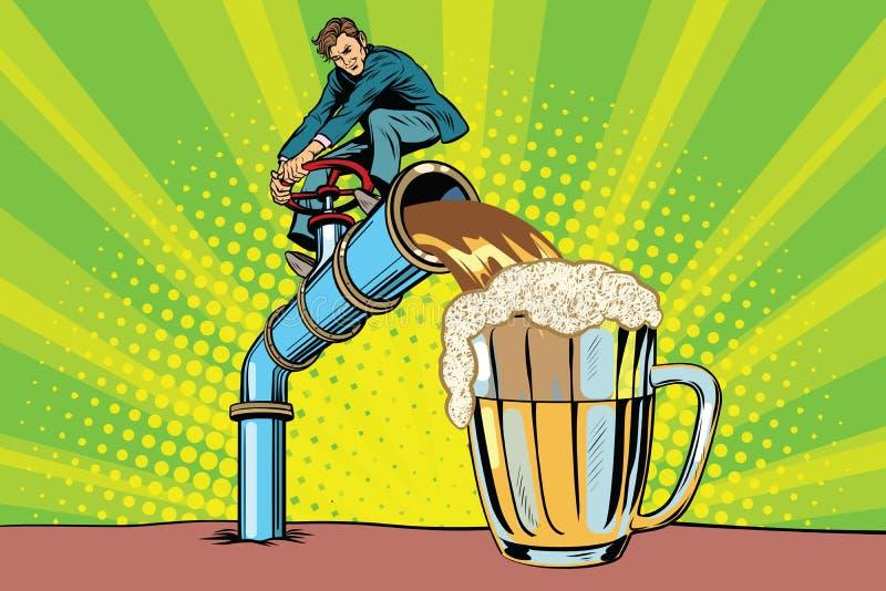 Mann gießt Bier lizenzfreie abbildung