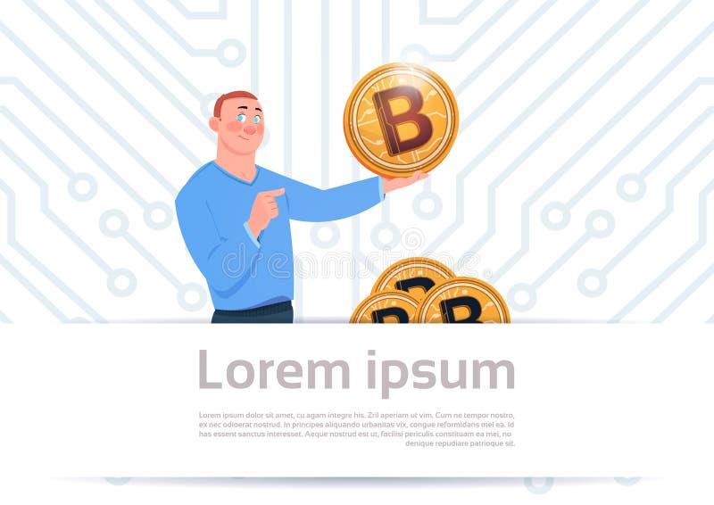 Mann-Griff goldener währungs-Netz-Geld-Konzept-Motherboard-Stromkreis-Hintergrund Bitcoin moderner Schlüssel vektor abbildung