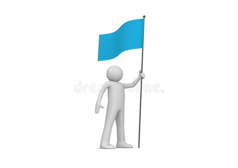 Mann hält blaue Markierungsfahne auf Fahnenmast an stock abbildung