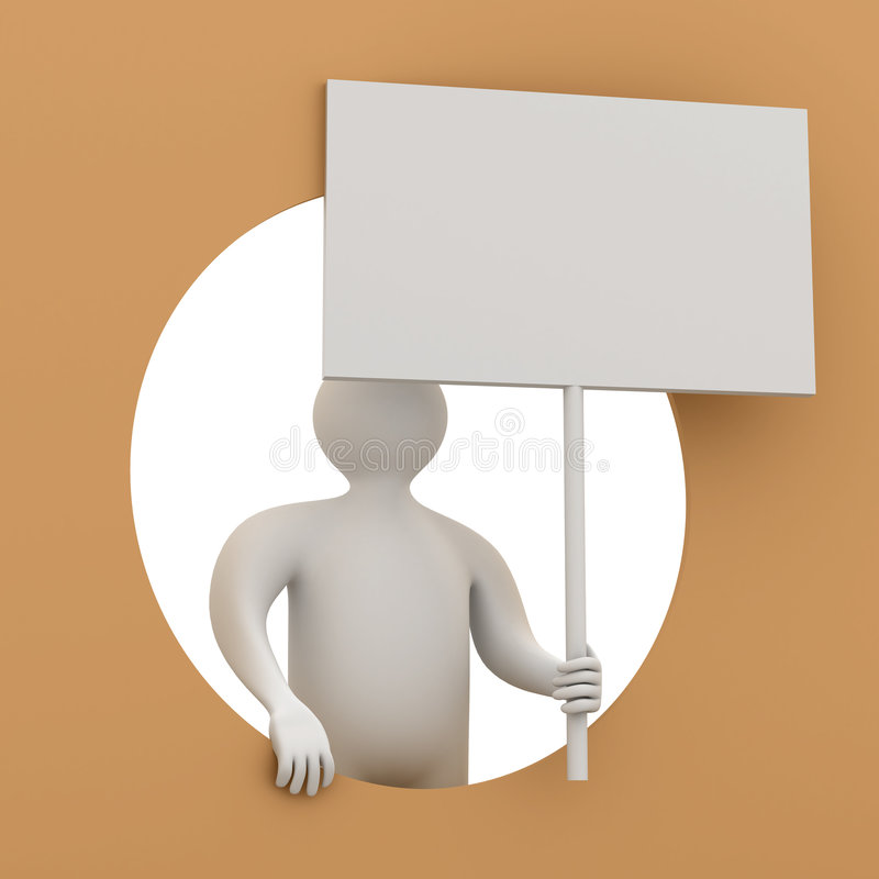 Mann hält das Plakat in einer Hand an. stock abbildung