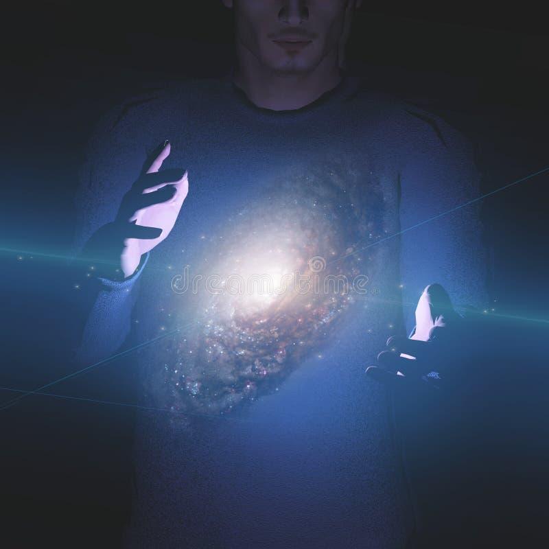 Mann Hält Galaxie Zwischen Händen Lizenzfreie Stockfotografie