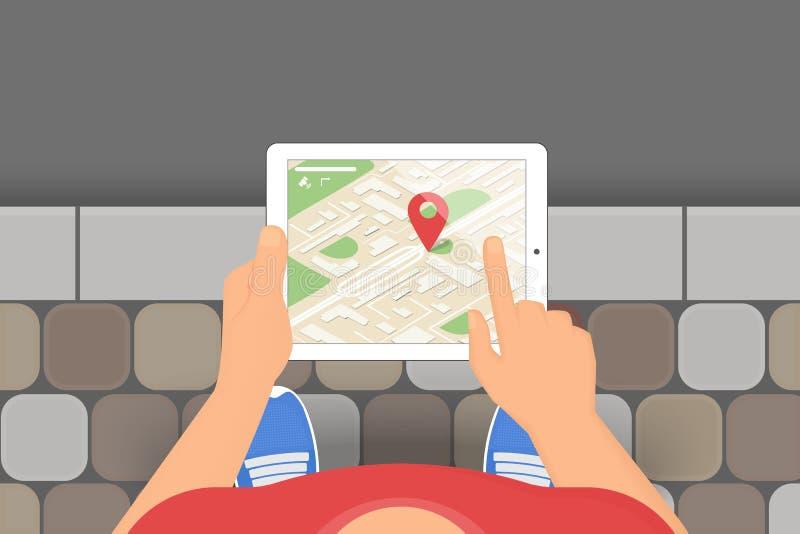 Mann hält in seiner Hand einen Tabletten-PC mit beweglicher Anwendung für gps-Navigation vektor abbildung