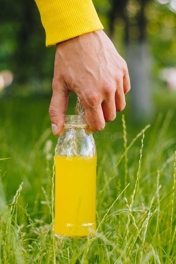 Mann hält in seiner Handflasche selbst gemachter Limonade auf dem Hintergrund von Bäumen im Park und im grünen Gras Sonniger Tag, stockfotografie