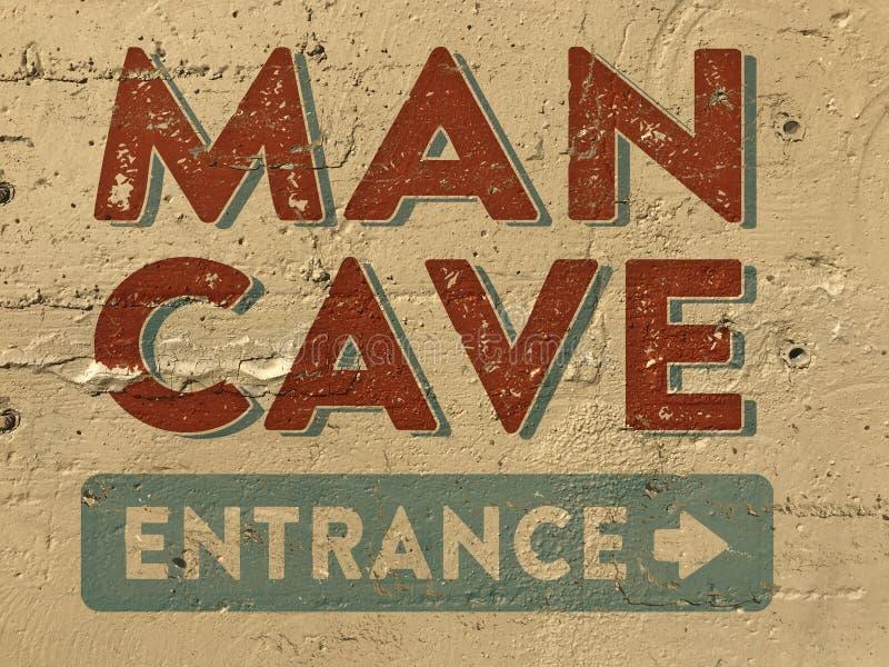 Mann-Höhlen-Eingangs-Zeichen gemalt auf Wand lizenzfreies stockbild