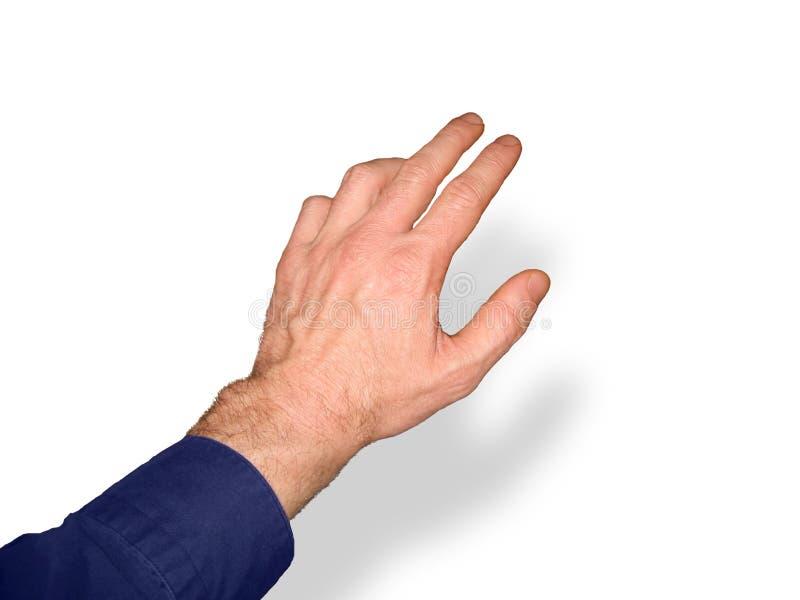 Mann-Hand, die 1160 1 erreicht stockfotos