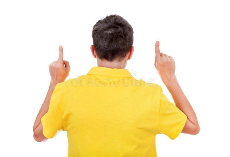 Mann-hintere Ansicht mit den Händen oben lizenzfreie stockfotos