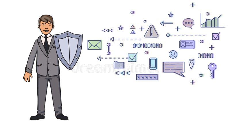 Mann im Anzug, der mit einem Schild vor den digitalen und Netzsymbolen sich schützt Personendatenschutz GDPR lizenzfreie abbildung