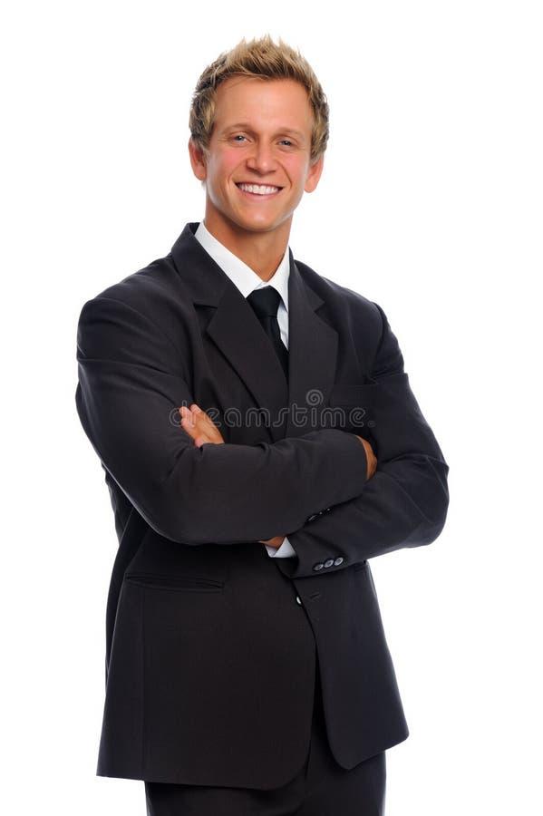 Mann im Anzug hat positive Fluglage stockfotografie