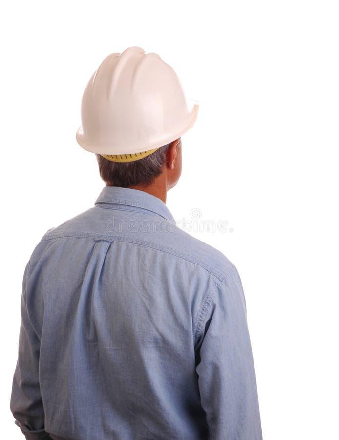 Mann im Arbeit Hemd und dem Hardhat lizenzfreie stockfotos