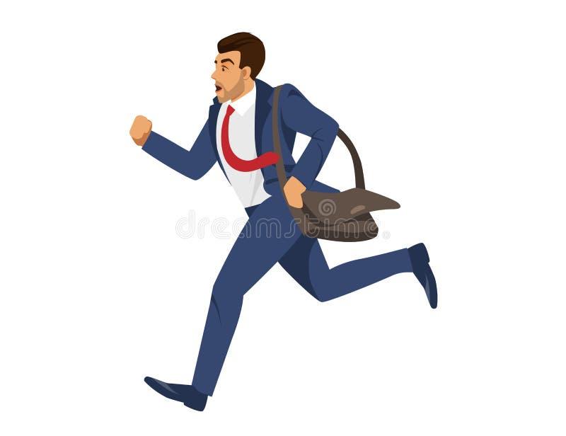 Mann im blauen Gesellschaftsanzug-Lauf auf weißem Hintergrund stock abbildung