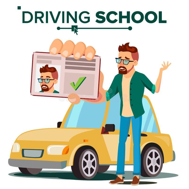 Mann im Fahrschule-Vektor Trainings-Auto Erfolgreiche Durchlauf-Prüfung Lernen anzutreiben Führerschein Lokalisierte Ebene stock abbildung