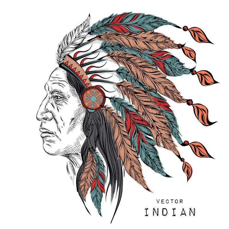 Mann im gebürtigen indianischen Leiter Schwarze Hinterwelle Indischer Federkopfschmuck des Adlers Vektorillustration des Handabge lizenzfreie abbildung