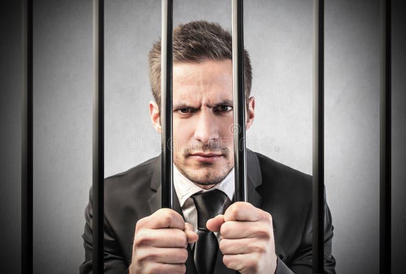 Mann im Gefängnis stockfoto