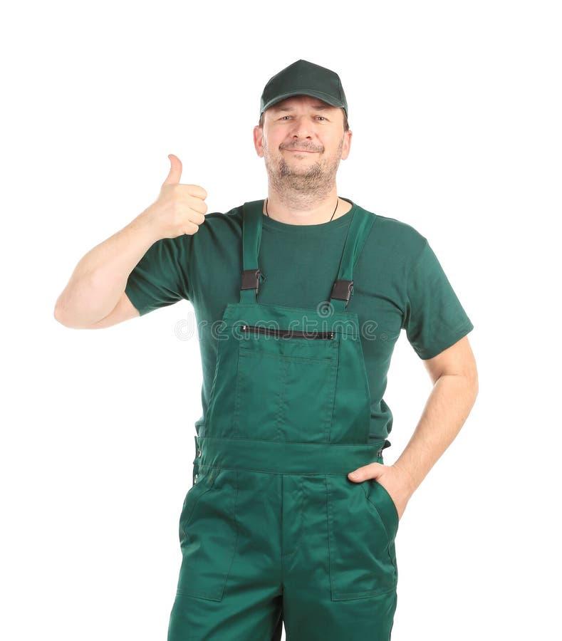 Mann im grünen Overall stockbilder